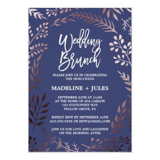 Eleganter Rosen-Gold-und Marine-HochzeitBrunch 12,7 X 17,8 Cm Einladungskarte
