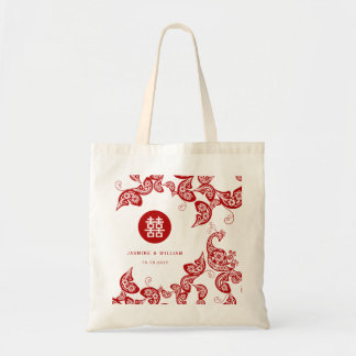Eleganter roter Blumenpfau-chinesische Budget Stoffbeutel