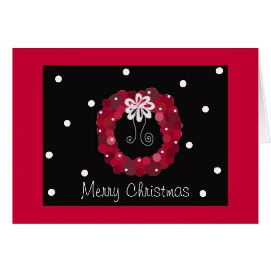 Eleganter roter WeihnachtsKranz Grußkarte