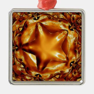 Eleganter schicker kupferner Goldweihnachtsstern Silbernes Ornament