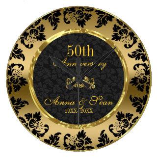 Eleganter Schwarz-u. des Gold50. Hochzeitstag Große Wanduhr