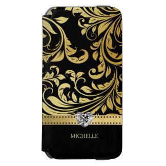 Eleganter Schwarz-und Golddamast mit Monogramm Incipio Watson™ iPhone 6 Geldbörsen Hülle
