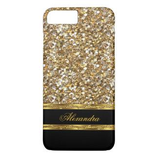 Eleganter Schwarz-und GoldGlitter iPhone 7 Plus Hülle