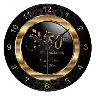 Eleganter schwarzer Damast - 50. goldener Große Wanduhr