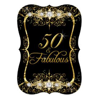 Eleganter schwarzer Golddiamant 50 u. fabelhaftes 12,7 X 17,8 Cm Einladungskarte