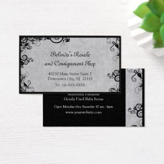 Eleganter schwarzer und grauer Deko blühen Visitenkarte