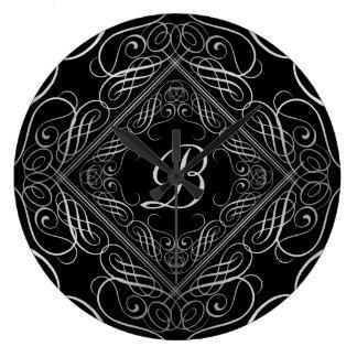 Eleganter silberne Folien-Blick mit Filigran Große Wanduhr