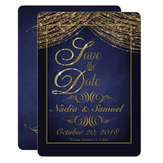 Eleganter tiefer Blau-und GoldGlitter retten die 12,7 X 17,8 Cm Einladungskarte