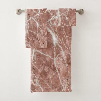 Eleganter tiefer Rosen-und Weiß-Marmor Badhandtuch Set