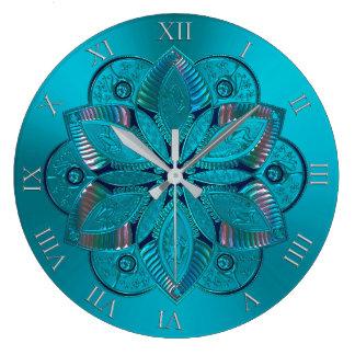 Eleganter Türkis-metallische Mandala-Uhr Große Wanduhr