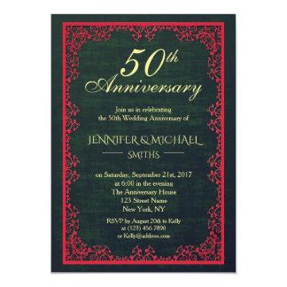 Eleganter Vintager grüner Hochzeits-Jahrestag Karte