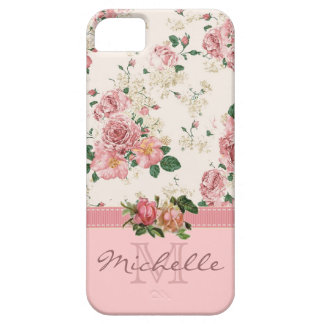 Eleganter Vintager rosa BlumenRosen-Monogramm-Name Barely There iPhone 5 Hülle
