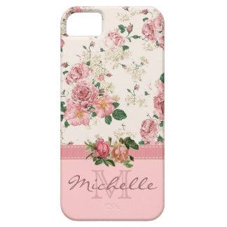 Eleganter Vintager rosa BlumenRosen-Monogramm-Name Barely There iPhone 5 Hülle