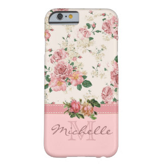 Eleganter Vintager rosa BlumenRosen-Monogramm-Name Barely There iPhone 6 Hülle