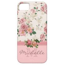 Eleganter Vintager rosa BlumenRosen-Monogramm-Name iPhone 5 Hüllen