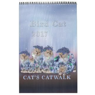 Eleganter Vogel-Katzen-Single-Seiten-Kalender 2017 Kalender