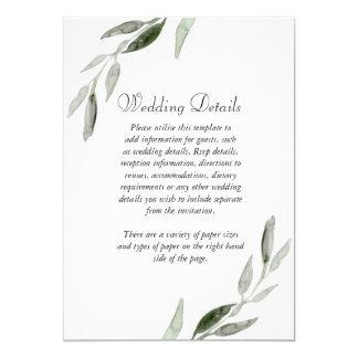 Eleganter Watercolor-Grün-Blatt-Hochzeits-Empfang Karte