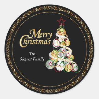 Eleganter Weihnachtsbaum-Entwurf Runder Aufkleber