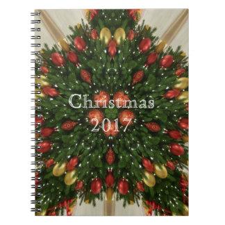 Eleganter WeihnachtsKranz-rotes grünes Spiral Notizblock