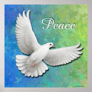 Eleganter weißer Friedenstauben-Druck Poster
