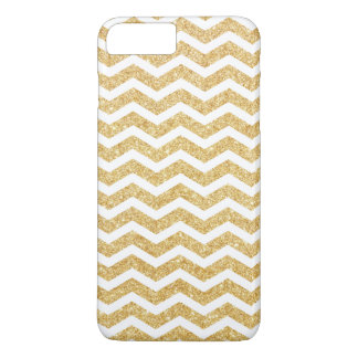 Eleganter weißes GoldGlitter-Zickzack-Zickzack iPhone 8 Plus/7 Plus Hülle