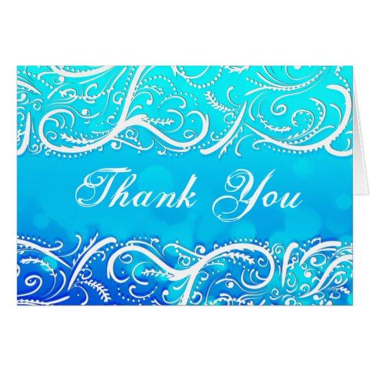 Eleganter Winter-blauer Schnörkel dankt Ihnen zu Grußkarte