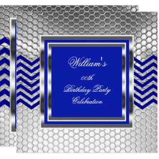 Eleganter Zickzack blauer silberner Karte