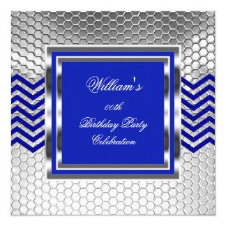 Eleganter Zickzack blauer silberner Quadratische 13,3 Cm Einladungskarte