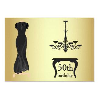 Elegantes 50. Geburtstags-Gold und Schwarzes laden 12,7 X 17,8 Cm Einladungskarte