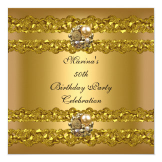 Elegantes 50. Geburtstags-Party-Goldperlen-Juwel Karte