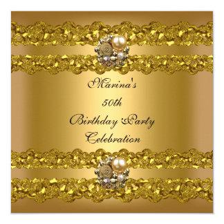 Elegantes 50. Geburtstags-Party-Goldperlen-Juwel Quadratische 13,3 Cm Einladungskarte