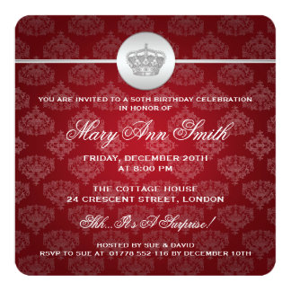 Elegantes 50. Geburtstags-Party-königliches Quadratische 13,3 Cm Einladungskarte