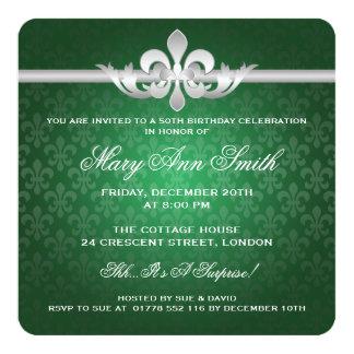 Elegantes 50. Geburtstags-Party-Lilien-Grün Quadratische 13,3 Cm Einladungskarte