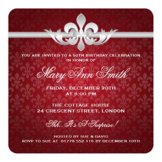 Elegantes 50. Geburtstags-Party-Lilien-Rot Quadratische 13,3 Cm Einladungskarte
