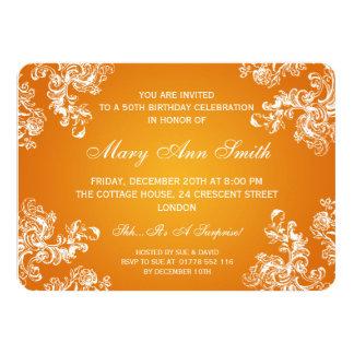 Elegantes 50. Geburtstags-Party-Vintager Wirbel 2 11,4 X 15,9 Cm Einladungskarte