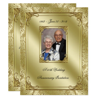 Elegantes 50. Hochzeits-Jahrestags-Foto laden ein 10,8 X 14 Cm Einladungskarte