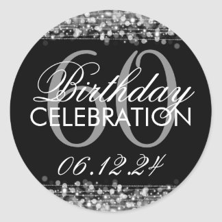 Elegantes 60. Geburtstags-Party-Glitzern-Silber Runder Aufkleber