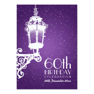 Elegantes 60. Geburtstags-Party-Vintage Lampe lila 12,7 X 17,8 Cm Einladungskarte