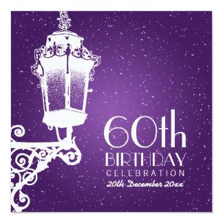 Elegantes 60. Geburtstags-Party-Vintage Lampe lila Quadratische 13,3 Cm Einladungskarte