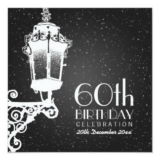Elegantes 60. Geburtstags-Party-Vintages Quadratische 13,3 Cm Einladungskarte