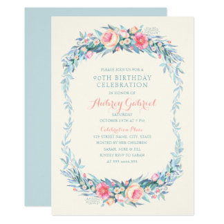 Elegantes 90. Geburtstags-PartyblumenWatercolor Karte