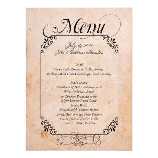 Elegantes antikes Blick-Hochzeits-Menü 16,5 X 22,2 Cm Einladungskarte