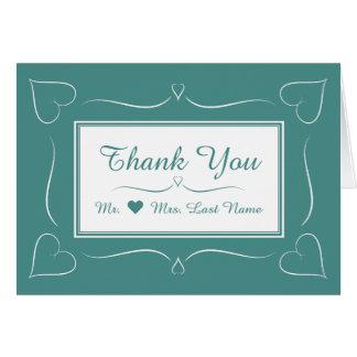 Elegantes aquamarines Hochzeits-Herz danken Ihnen Mitteilungskarte