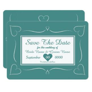 Elegantes aquamarines Hochzeits-Herz-Monogramm 12,7 X 17,8 Cm Einladungskarte