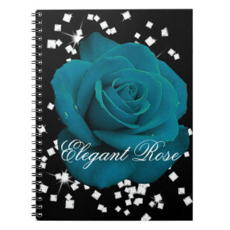 Elegantes aquamarines Rosen-Notizbuch Notizblock