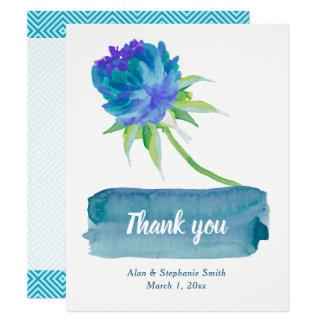 Elegantes Aquarell-blaue Blumenhochzeit danken Karte