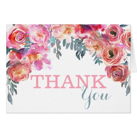 Elegantes Aquarell-Blumentropfen danken Ihnen Mitteilungskarte