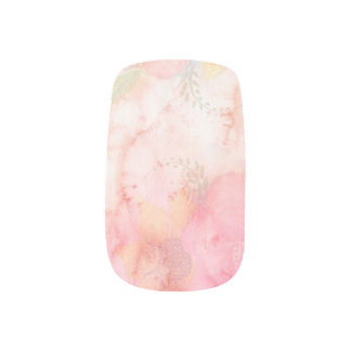 Elegantes Aquarell-Rosa-Blumenhintergrund Minx Nagelkunst