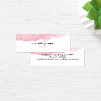 Elegantes Aquarell-Rosa minimal Mini Visitenkarte