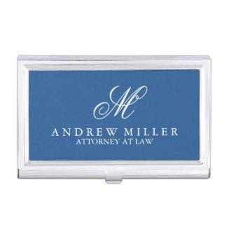 Elegantes berufliches blaues Monogramm Visitenkarten-Schatulle